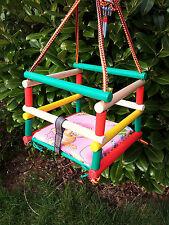 NEW GARDEN INDOOR WOODEN BABY SAFETY SWING WITH CUSHION