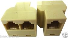 RJ45 Double Adaptor for Ethernet Cat5e Splitter Twin Connector Fix 2 to 1