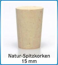 10 St. Natur Spitzkorken 17/14x20, Verschluss Flasche Korken Stopfen, Münd.15 mm