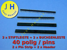 Stk.2x boccole barra 40 poli +2x penna barra 40 poli KIT intestazione/pin strip #a140