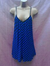 bright blue black striped cami top vest top dress size 8 beach cover up holiday