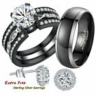 His Hers Titanium Stainless Steel Engagement Ring Matching Wedding Band Set Gift
