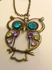 Colorful Cute bronze beautiful Rhinestone owl Carved Hollow Chain Necklace L221