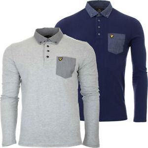 Lyle & Scott Mens Long Sleeve Polo Sweatshirt Woven Collar Fleece Top Navy Grey