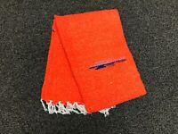 Mexican Blanket Thick Orange White Thunderbird Yoga Blanket Falsa Serape