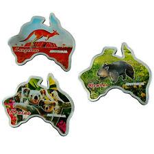 3 Magnet Fauna Fridge Australia Map Kangaroo Koala Wombat Australian Animals NEW