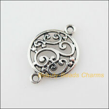 10Pcs Tibetan Silver Tone Flower Round Charms Pendants Connectors 14x20.5mm