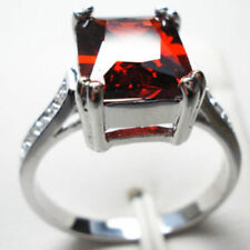 White Gold Filled Red Crystal & Rhinestone Solitaire Ring