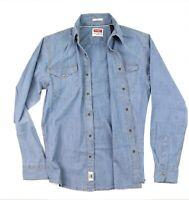 New Wrangler Long Sleeve Denim Shirt Bleached Indigo Slim Fit Men's Sizes S-3XL