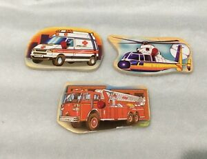 LOT OF 3 REPLACEMENT WOODEN PUZZLE PIECES / AMBULANCE - FIRETRUCK - HELICOPTER
