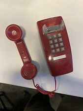 RETRO RED PUSH BUTTON CORDED BASIC WALL PHONE TELEPHONE VINTAGE STYLE NEW