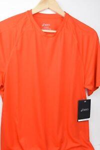 MENS T SHIRT ASICS Athletic Shirt SMALL RUNNING BIKING ORANGE Camisa Ejercisio