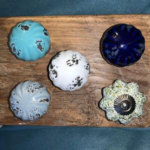 Shabby chic cupboard door knobs handles drawer pulls. Vintage ceramic knobs. 4cm