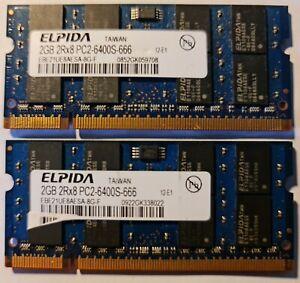 4GB ( 2 X 2GB ) PC2-6400 DDR2-800 MHz Laptop RAM Sodimm ELPIDA EBE21UE8AFSA