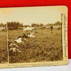 Stereoview ephemera photo picture sepia 1898 civil war volunteers field advance