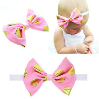 Lovely Baby Kids Girls Wide Dot Bow Hairband Shiny Turban Knot Elastic Headband