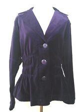Joan Rivers Women's Jacket Purple Velvet with Ruching Detail size Medium