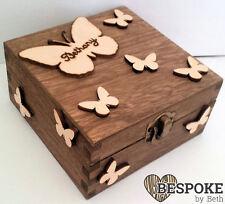 Personalised Pine Wooden Engraved Keepsake Memory Box Butterfly Butterflies Gift