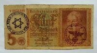 🇩🇪  Nazi Era GERMANY Banknote 5  Reichsmark with stamps. 1939/45