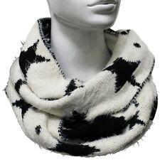 Bufanda Mujer Estrellas Tubular Punto Beige Negro Circular Cerrada Cuello Tubo 1