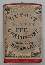 Empty Dupont Oval Fffg Powder Can w/1924 Pat. Date Label
