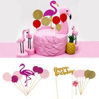 Flamingo Cake Topper Glitter Happy Birthday Wedding Party Dessert Decor Supplies