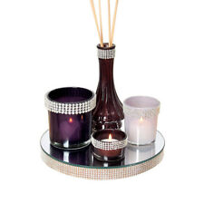 Set 3 Purple White Glass Candle Tea Light Holders & Diffuser Diamantes Gem Tray