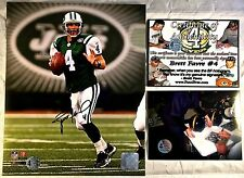 BRETT FAVRE #4 NEW YORK JETS AUTOGRAPHED SIGNED COLOR 8X10 PHOTO COA Signing Pic