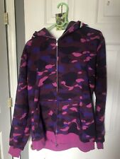 MEN BAPE A BATHING APE SHARK JAW JACKET COAT COTTON CAMO FULL ZIP HOODIE SWEATS