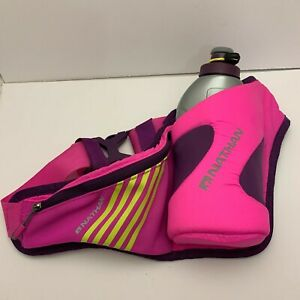 Nathan Pink Triangle Waist Fanny Pack Hydration Belt 16 oz Water Bottle Running