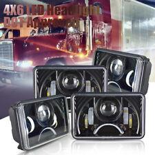 Black LED 4x6 Rectangular Projector  LED Headlights High Low Beam DRL Lamp
