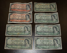 Lot of 8 1954 Bank of Canada Devil's Face Notes - Fine to Very Fine