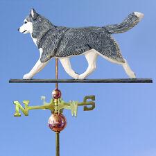 Siberian Husky Hand Carved Hand Painted Basswood Dog Weathervane Grey/White