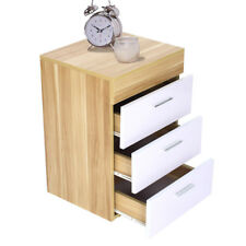 3 Drawer White &Oak Bedside Cabinet / Table (3 Draw Chest) Bedroom Furniture
