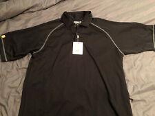 Ashworth Mesh Raglan Golf Shirt Xl Nwt - Black W/ Gray Stitching $65