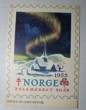 Norway 1955 Nks Northern Lights Christmas Seal Expo Philatelic Sheet & Postcard