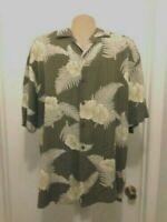AXIST Mens  Silk Hawaiian Shirt  Floral Button Short Sleeve  M