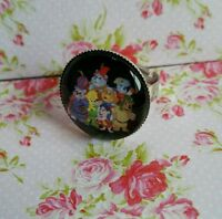 Gummi Bears Image Silver Tone Adjustable Ring Retro 80s Film Cartoon