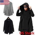 US New Men Punk Hooded Sweater Cardigan Long Cloak Cape Hip-hop Coat Cosplay