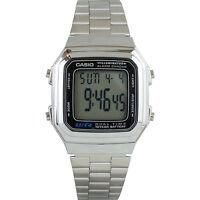 Casio A178WA-1AV Casual Stainless Steel Digital Watch w/ Multi Function Alarm