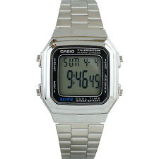 Casio A178WA-1AV Casual Stainless Steel Digital Watch w/ Multi Function Alarm