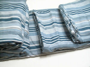 Home Collection Cooper Multi Colors Blue Gray Stripes Flannel King Sheet Set New