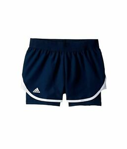 $199 Adidas Kids Girls Blue White Stretch Climalite Logo Athletic Sport Shorts M