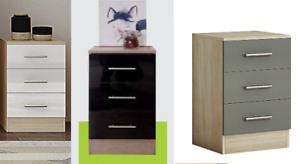 HIGH GLOSS CHEST OF DRAWERS TALL WIDE BEDSIDE TABLE CABINET BEDROOM FURNITURE