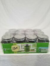 Pint Jars Set 12 Pack 16 oz with Lids and Bands Ball Mason Regular Mouth Kitchen
