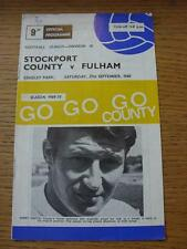 27/09/1969 Stockport County v Fulham  (Price Of Programme Noted On Cover)