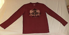 """EXPRESS L/S MAROON T-SHIRT """"PLEASURE IS THE FORTUNE.......""""ON FRONT   M   K#4376"""