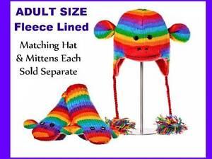 NWT deLux RAINBOW STRIPED SOCK MONKEY HAT knit handmade FLEECE LINING costume