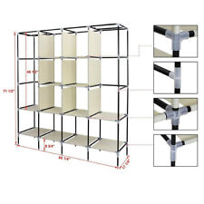 Clothes Closet Portable Wardrobe Clothes Storage Rack 12 Shelves 4 Pockets UKED