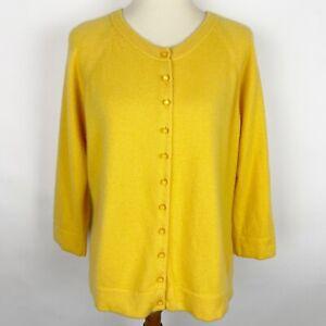 LANDS' END Yellow Cashmere 3/4 Sleeve Button Up Crewneck Cardigan - Size XL